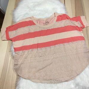 We the Free Peach Blush Lace Oversized T Shirt
